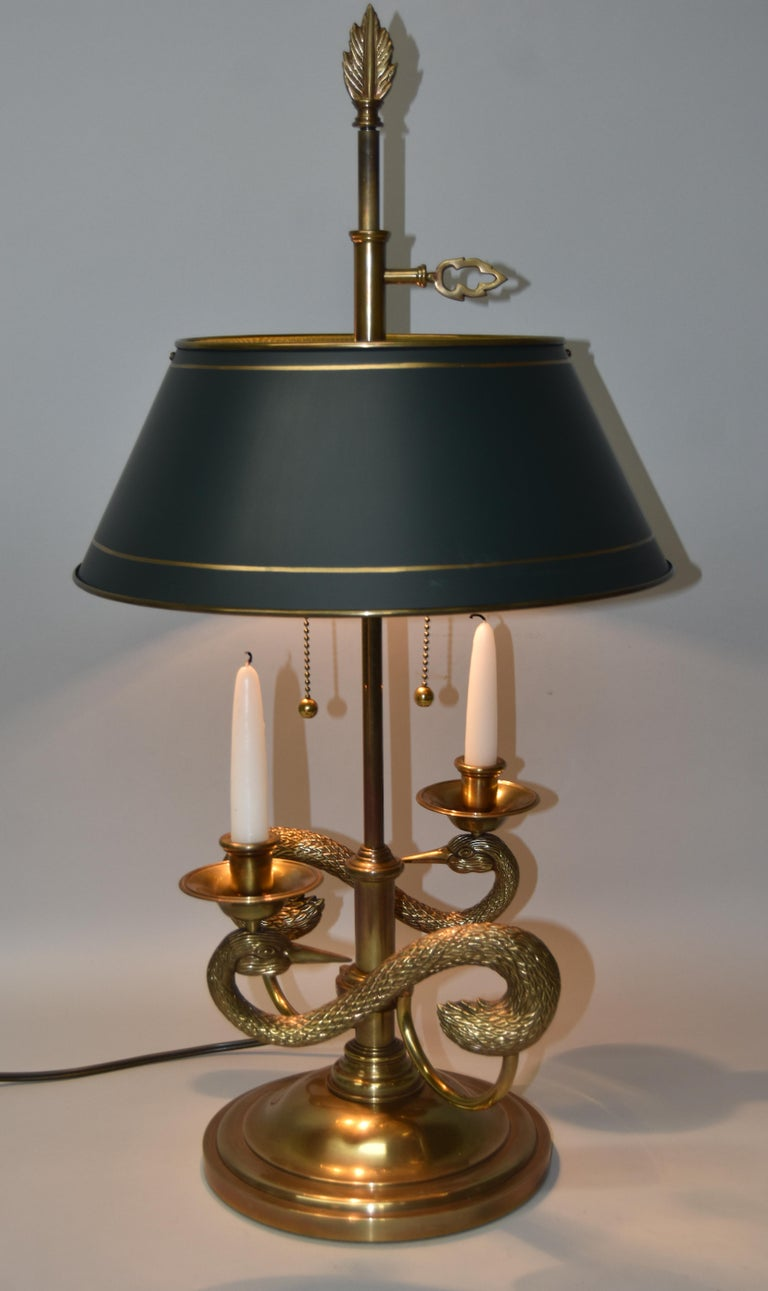 Chapman Bouillotte Brass Double Swan Table Lamp Tole Shade