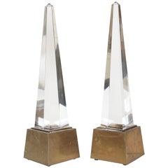 Chapman Brass and Acrylic Obelisk Table Lamps