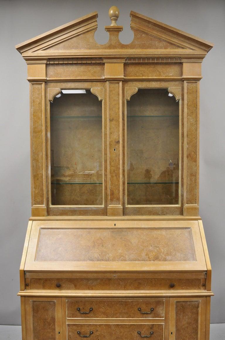 Chapman Italian Neoclassical Burl Wood Patchwork Olivewood Tall Secretary Desk For Sale 7