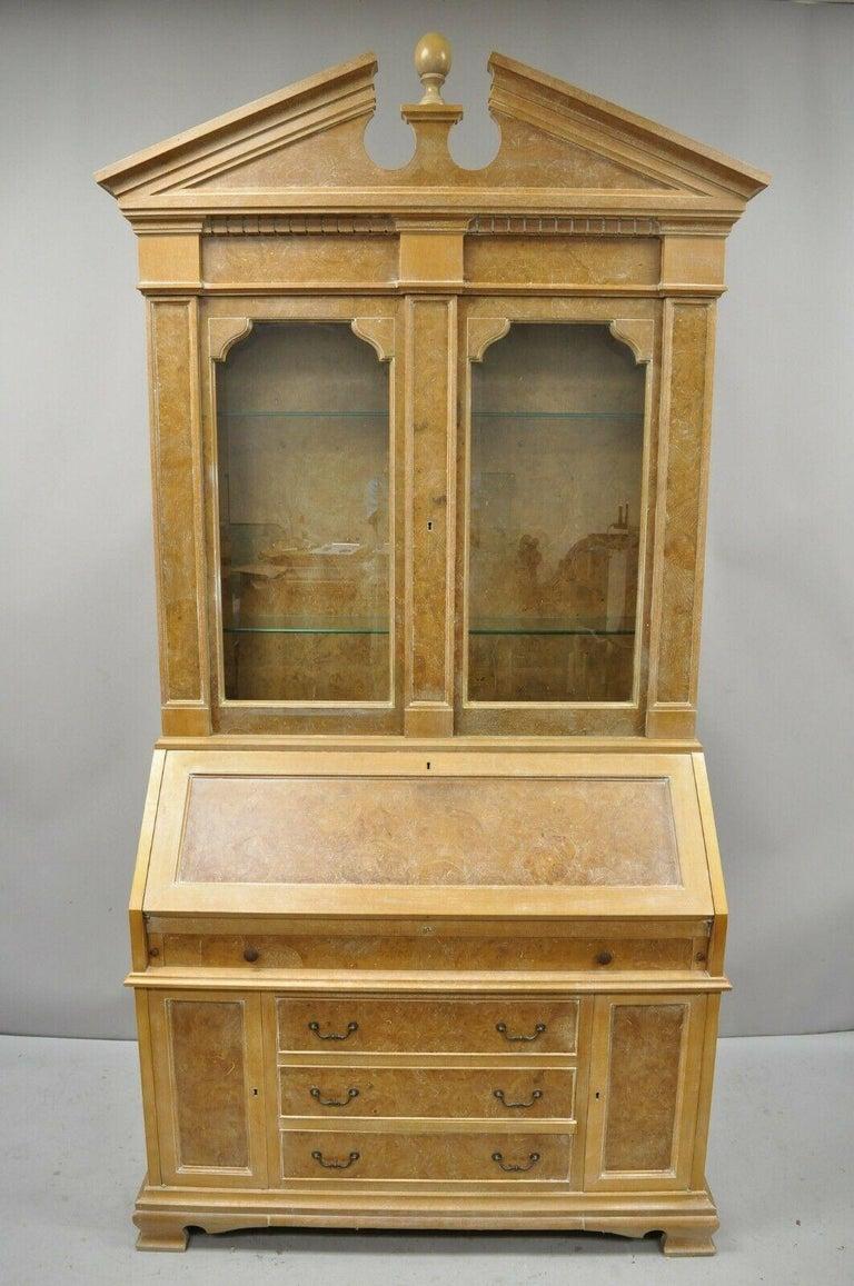 Chapman Italian Neoclassical Burl Wood Patchwork Olivewood Tall Secretary Desk For Sale 8