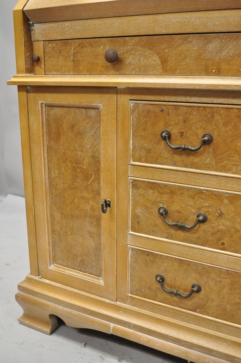 Chapman Italian Neoclassical Burl Wood Patchwork Olivewood Tall Secretary Desk For Sale 1