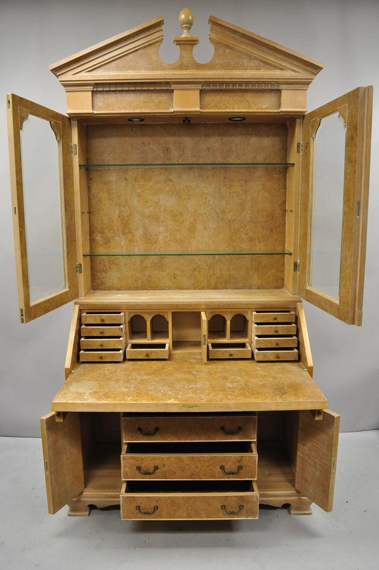 Chapman Italian Neoclassical Burl Wood Patchwork Olivewood Tall Secretary Desk For Sale 2