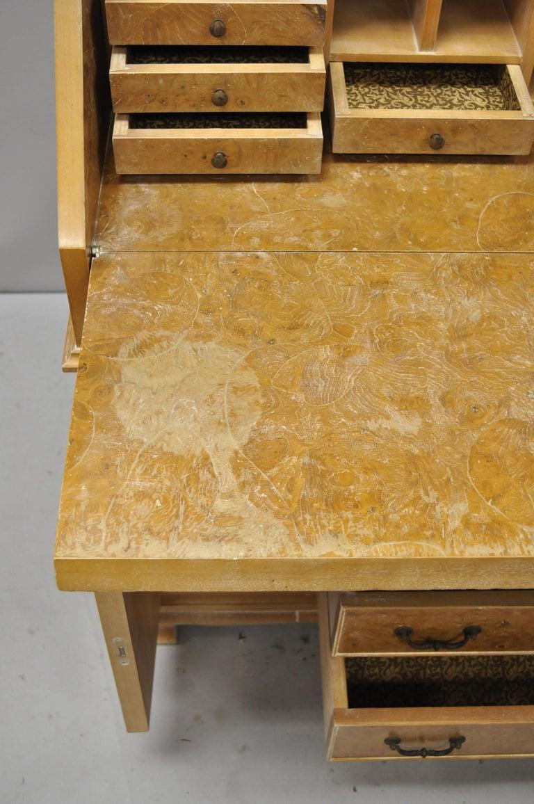 Chapman Italian Neoclassical Burl Wood Patchwork Olivewood Tall Secretary Desk For Sale 3