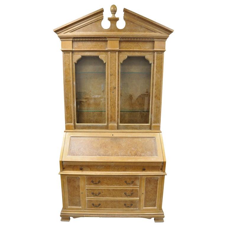 Chapman Italian Neoclassical Burl Wood Patchwork Olivewood Tall Secretary Desk For Sale