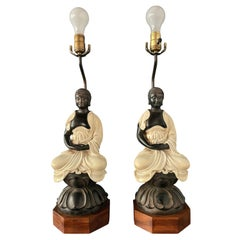 Chapman Pair Ceramic Table Lamps of Sitting Buddhas on Rosewood Base Mid Century
