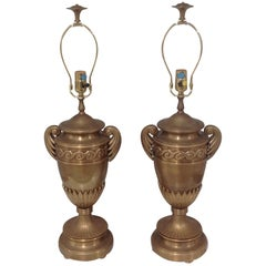 Chapman Pair of Urn Form Lamps with Original Finials
