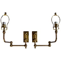Chapman Style Pair Brass Wall Reading Lights/Sconces