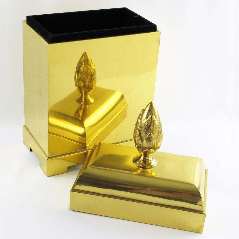 Modern Chapman Tall Brass Box or Magazine Storage For Sale