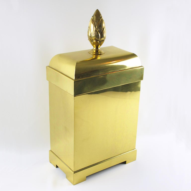 Late 20th Century Chapman Tall Brass Box or Magazine Storage For Sale