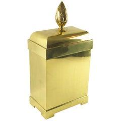 Chapman Tall Brass Box or Magazine Rack Storage Carved Pine Cone Handle