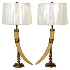 Chapman Vintage Faux Horn & Brass Lamps 'Pair'