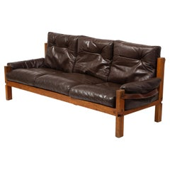 Chapo Leather and Elm Model S22R Three-Seater Sofa, France 1960's