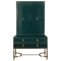 Green Lacquer Tall Henri Chest on Stand with Brass Accents by Chapter & Verse