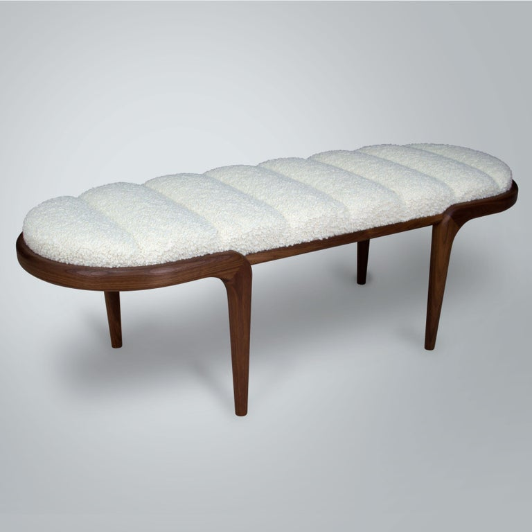 American Chapter & Verse Steam Bent Upholstered Walnut Bench For Sale