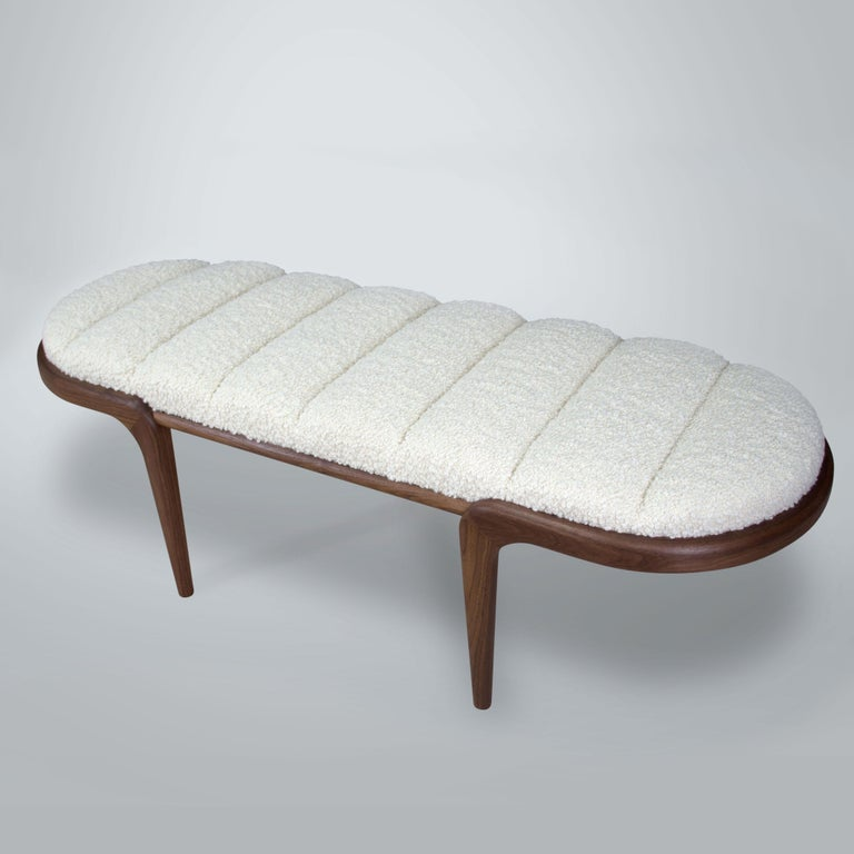 Chapter & Verse Steam Bent Upholstered Walnut Bench In New Condition For Sale In Brooklyn, NY