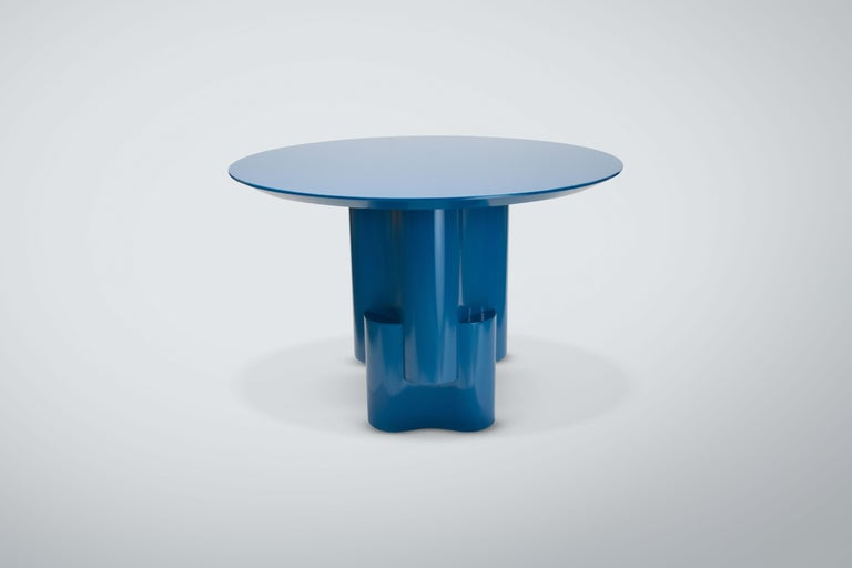 Modern Chapter & Verse Tsugime Blue Lacquered Pedestal Table For Sale
