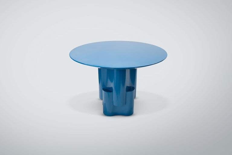 American Chapter & Verse Tsugime Blue Lacquered Pedestal Table For Sale