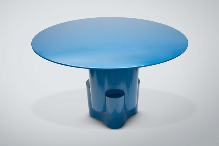 Chapter & Verse Tsugime Blue Lacquered Pedestal Table In New Condition For Sale In Brooklyn, NY