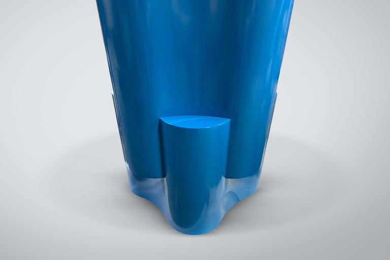 Contemporary Chapter & Verse Tsugime Blue Lacquered Pedestal Table For Sale