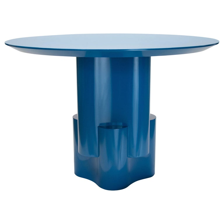 Chapter & Verse Tsugime Blue Lacquered Pedestal Table For Sale