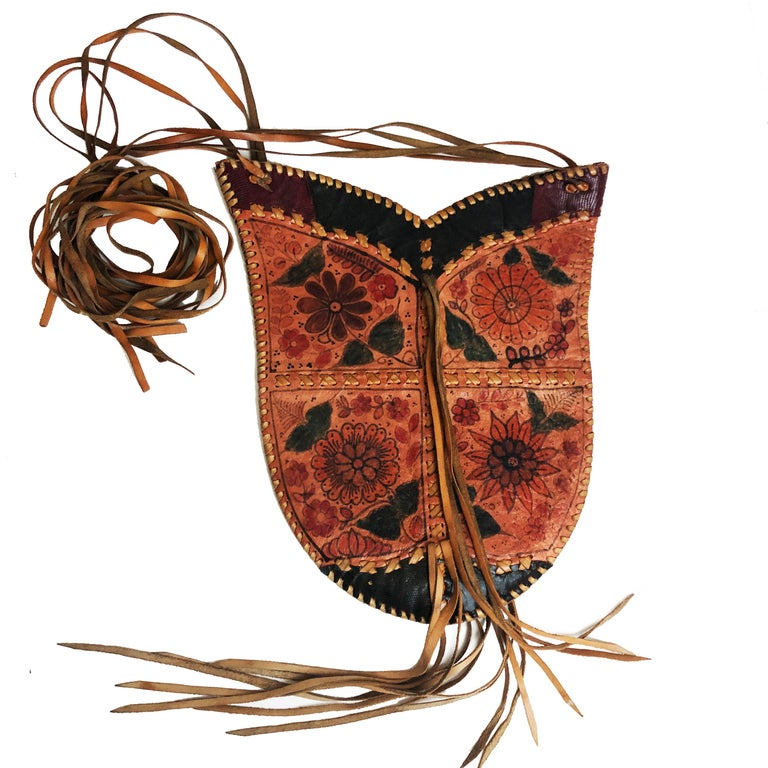 Brown Char Leather Whipstitch Fringe Shoulder Bag Hand Painted Florals 70s Rare For Sale