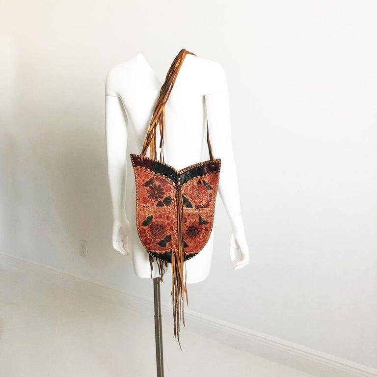 Char Leather Whipstitch Fringe Shoulder Bag Hand Painted Florals 70s Rare For Sale 2