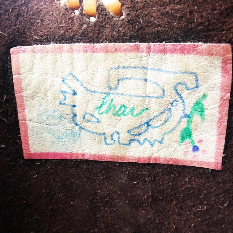 Char Leather Whipstitch Fringe Shoulder Bag Hand Painted Florals 70s Rare For Sale 4