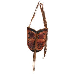 Char Leather Whipstitch Fringe Shoulder Bag Hand Painted Florals 70s Rare
