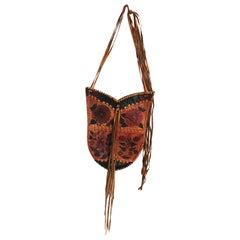 Char Leather Whipstitch Fringe Shoulder Bag Hand Painted Florals 70s Rare