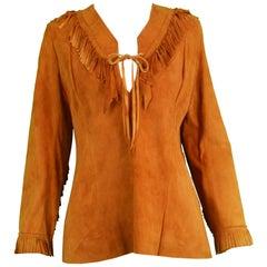 Char Santa Fe Vintage Women's Hippie Brown Suede Fringe Shirt, 1980s