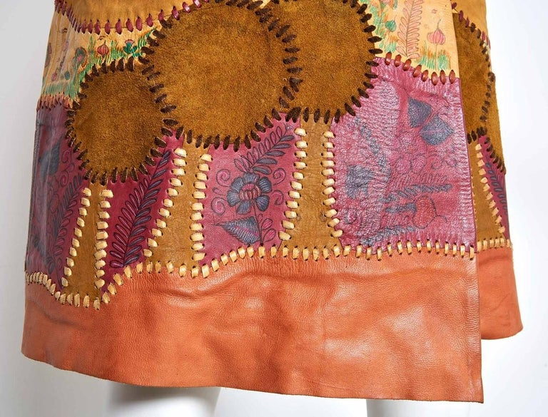 Char Scenic Hand Painted and Hand Pieced Leather Wrap Skirt late 1960's  In Excellent Condition For Sale In New Hope, PA