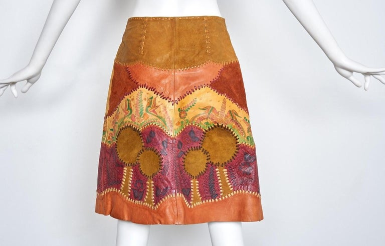 Women's Char Scenic Hand Painted and Hand Pieced Leather Wrap Skirt late 1960's  For Sale