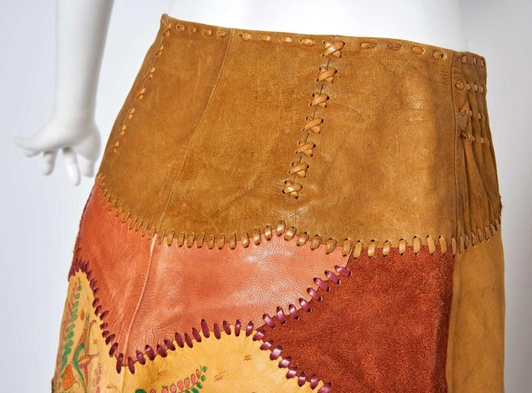 Char Scenic Hand Painted and Hand Pieced Leather Wrap Skirt late 1960's  For Sale 1