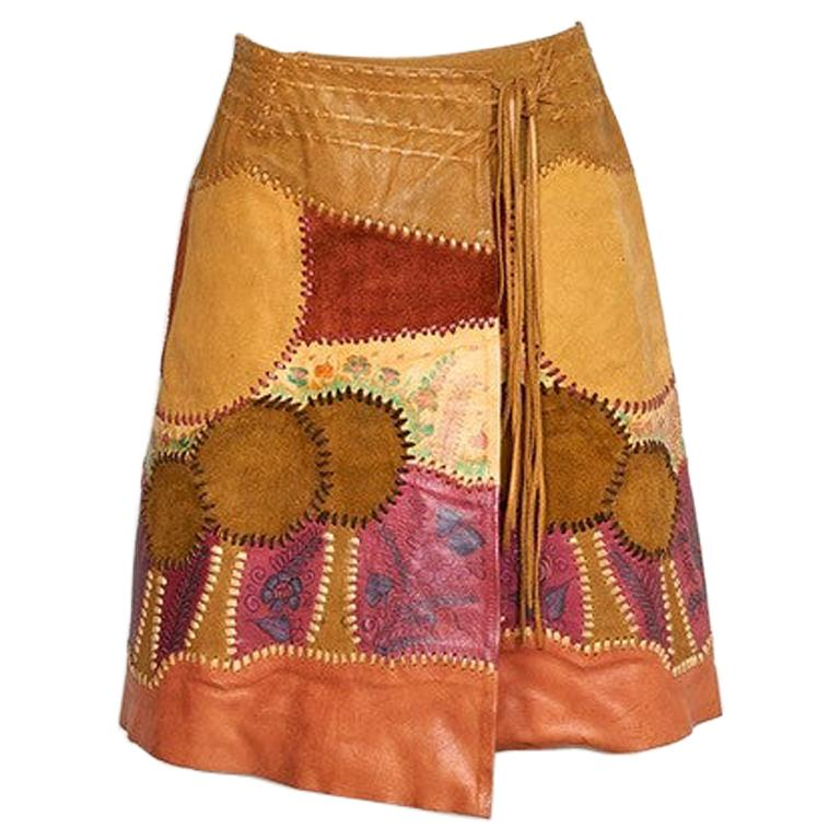 Char Scenic Hand Painted and Hand Pieced Leather Wrap Skirt late 1960's  For Sale