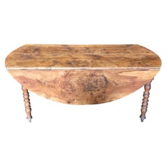 Character Rich Elm Antique Drop Leaf Round Dining Table