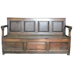 Character Rich Very Early British Mudroom Bench with Storage under Seat