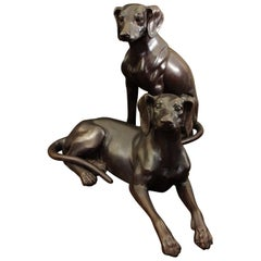 Characterful Bronze Hound Statues, 20th Century