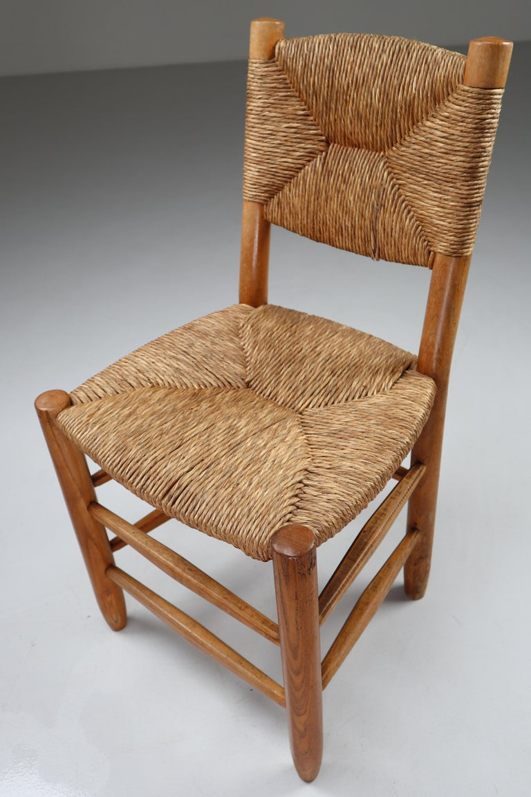 """Straw Characteristic """"Bauche"""" Chair by Charlotte Perriand for Steph Simon, France 1950 For Sale"""