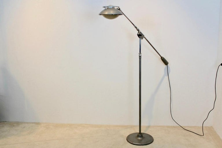 French Characteristic 'Model 219S' Industrial Floor Lamp by Louis Ferdinand Solère For Sale