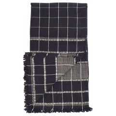 Charco Black Handloom King Size Bedspread / Coverlet in Organic Cotton