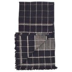 Charco Black Handloom Queen Size Bedspread / Coverlet in Organic Cotton