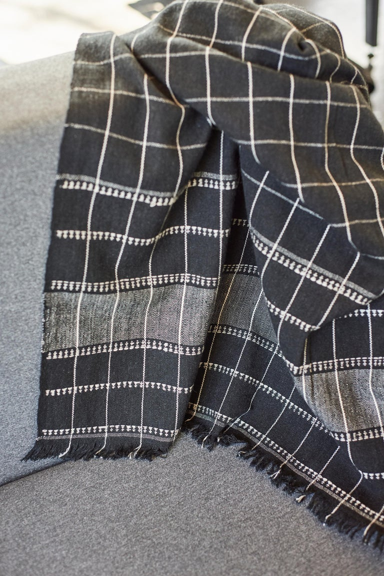 Nepalese Charco Black Handloom Throw / Blanket In Organic Cotton  For Sale