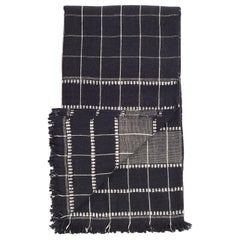 Charco Black Handloom Throw / Blanket In Organic Cotton