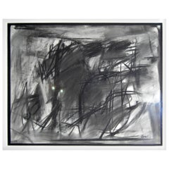 Charcoal Abstract of Geometric Forms on Paper