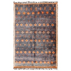 Charcoal and Orange Vintage Moroccan Rug with Geometric Design