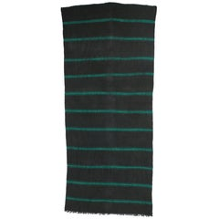 Charcoal and Teal Vintage Berber Moroccan Kilim with Stripes and Modern Style