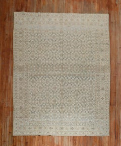 Charcoal Brown Green Blue Antique Persian Tabriz Room Size Rug
