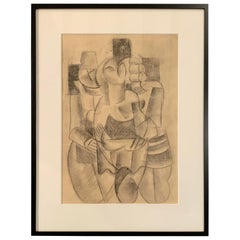 Charcoal Cubist Drawing, France, 1950s
