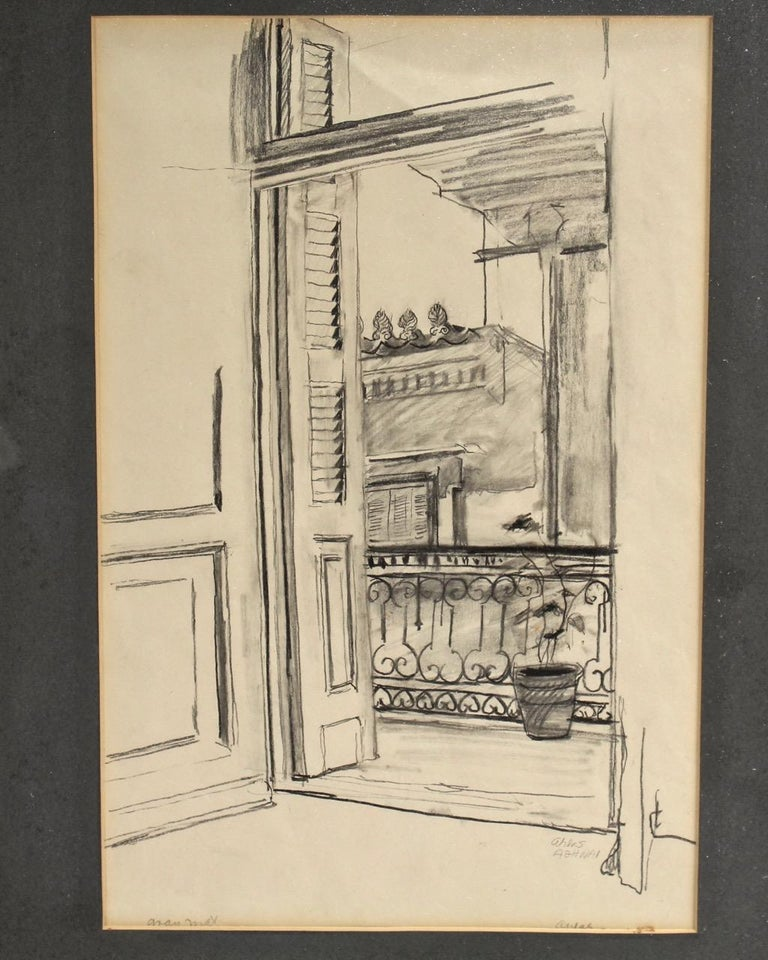 Charcoal Drawing of a View from a Balcony by Lambro Ahlas In Distressed Condition For Sale In Philadelphia, PA