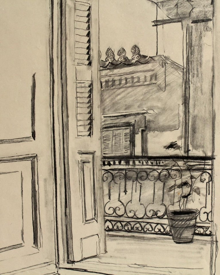 20th Century Charcoal Drawing of a View from a Balcony by Lambro Ahlas For Sale